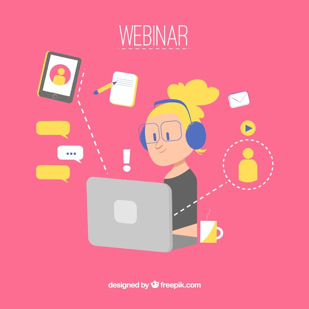 Webinar concept on pink background Free Vector