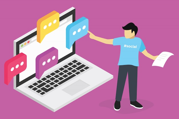 Webinar concept, seo marketing online training, education on computer, e learning workplace Premium Vector