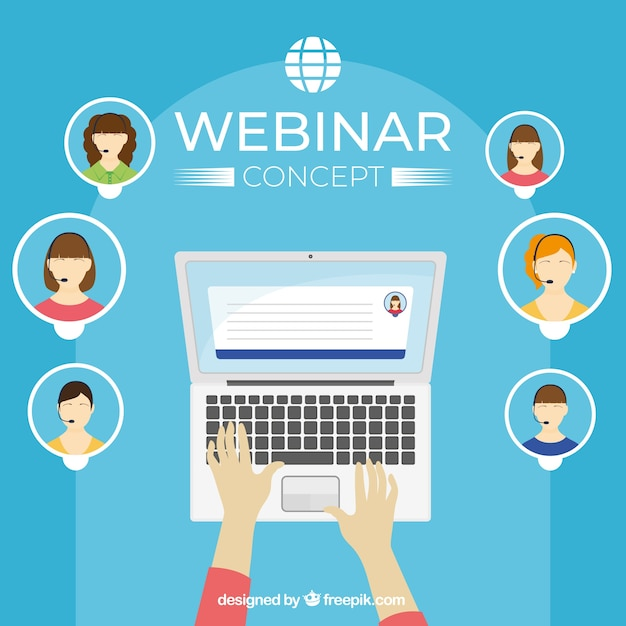 Webinar concept with avatars Free Vector
