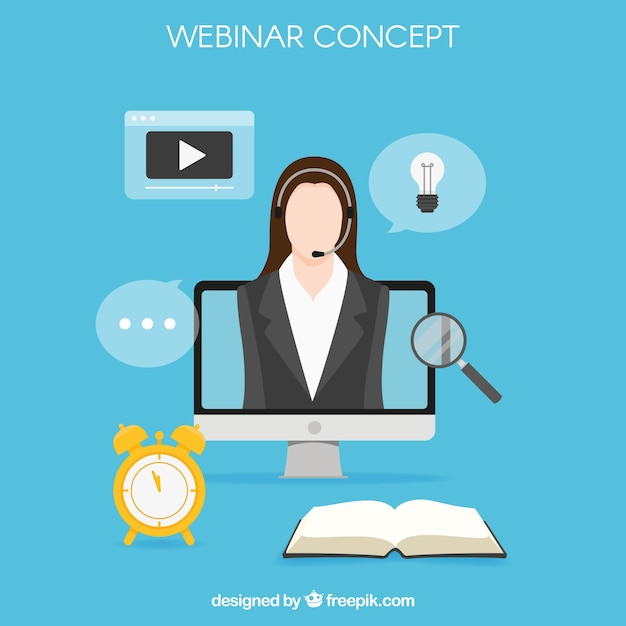 Webinar concept with businesswoman in\ computer
