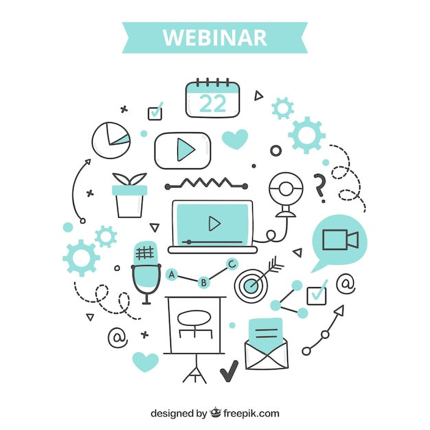 Webinar concept with creative elements Free Vector