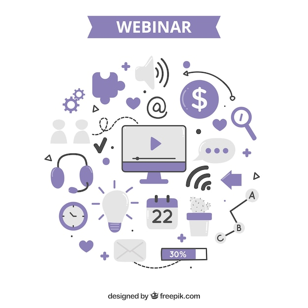 Webinar concept with elements Free Vector