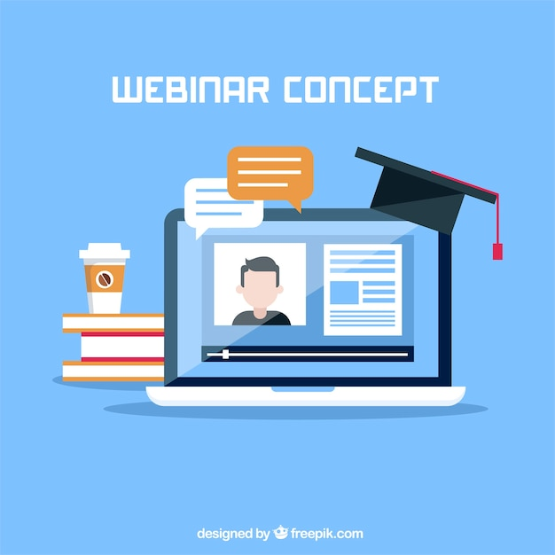 Webinar concept with hat on laptop Free Vector