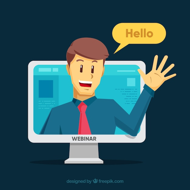 webinar concept with man in computer vector free download