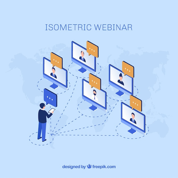 Webinar concept with man talking to five computers Free Vector