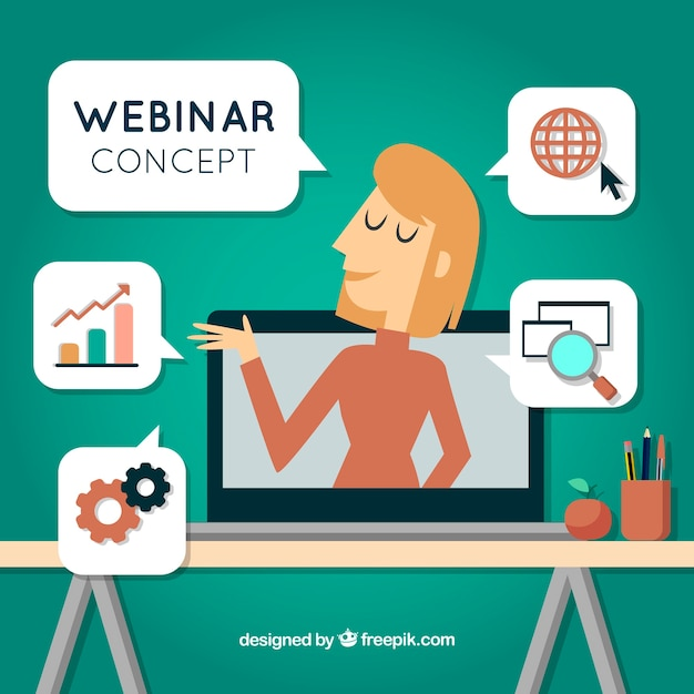 Webinar concept with woman in laptop Free Vector