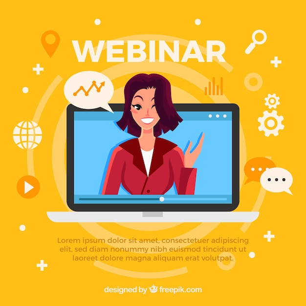 Webinar design with woman in laptop Free Vector