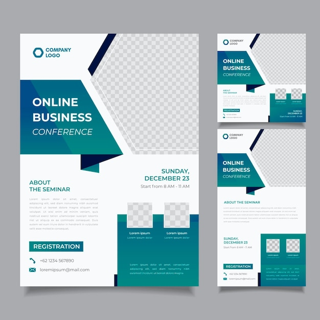 Webinar flyers template Free Vector