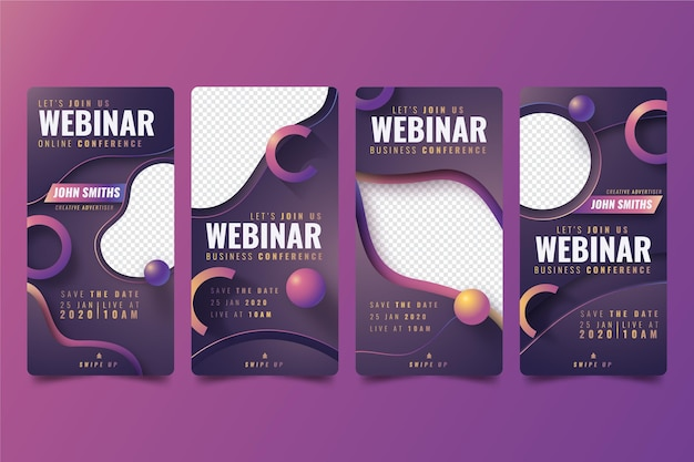 Webinar instagram story collection Free Vector