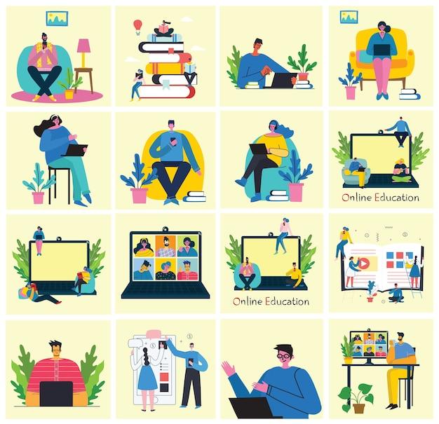 Вебинар онлайн концепции иллюстрации. люди в видеоконференции. набор людей деловой активности. работайте удаленно из дома. набор плоских современных иллюстраций Premium векторы