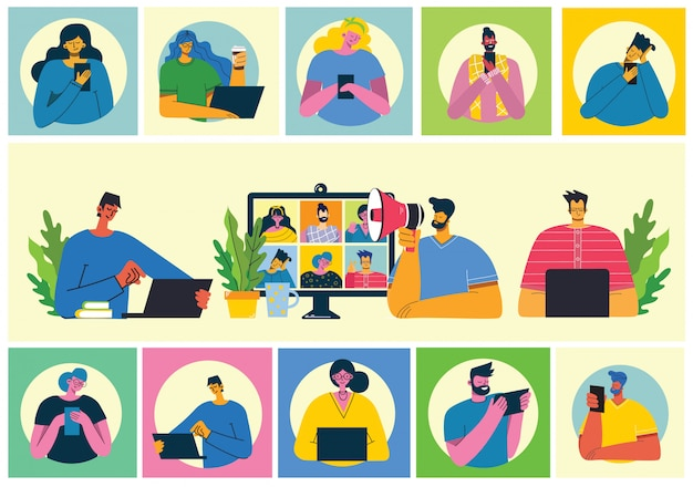 Webinar online concept illustration. people use video chat on desktop and laptop to make conference. work remotely from home. flat modern vector illustration. Premium Vector