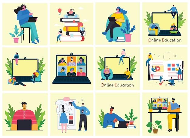 Вебинар онлайн концепции иллюстрации. люди используют видеочат для конференции. Premium векторы