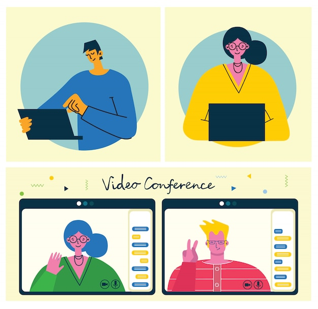 Вебинар онлайн концепции иллюстрации. люди используют видео-чат на рабочем столе и ноутбуке, чтобы сделать конференцию. работаем удаленно из дома. плоские современные векторные иллюстрации. Premium векторы