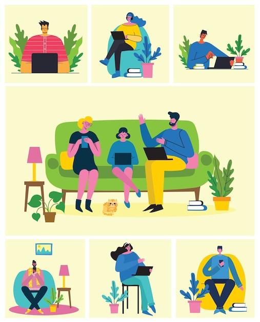 Вебинар онлайн концепции иллюстрации. работайте удаленно из дома. плоский современный рисунок. Premium векторы