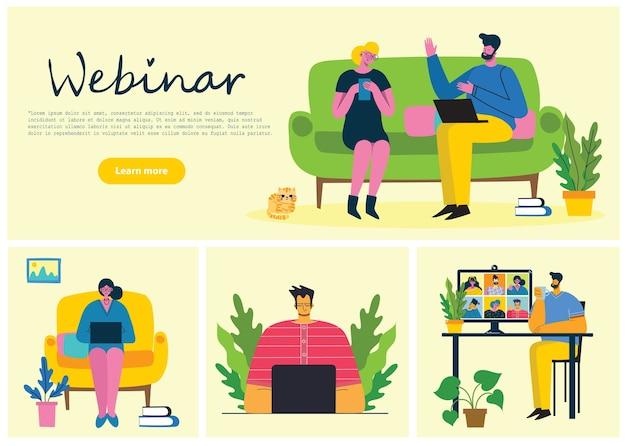 Вебинар онлайн концепции иллюстрации. Premium векторы