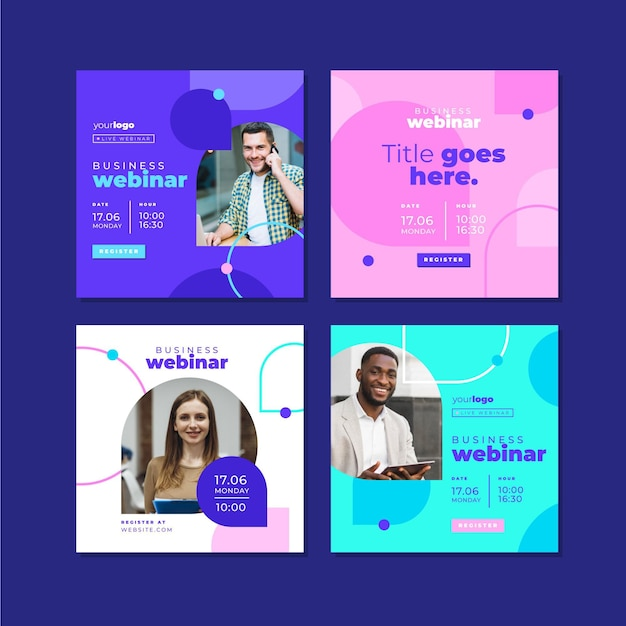 Webinar template instagram post Free Vector