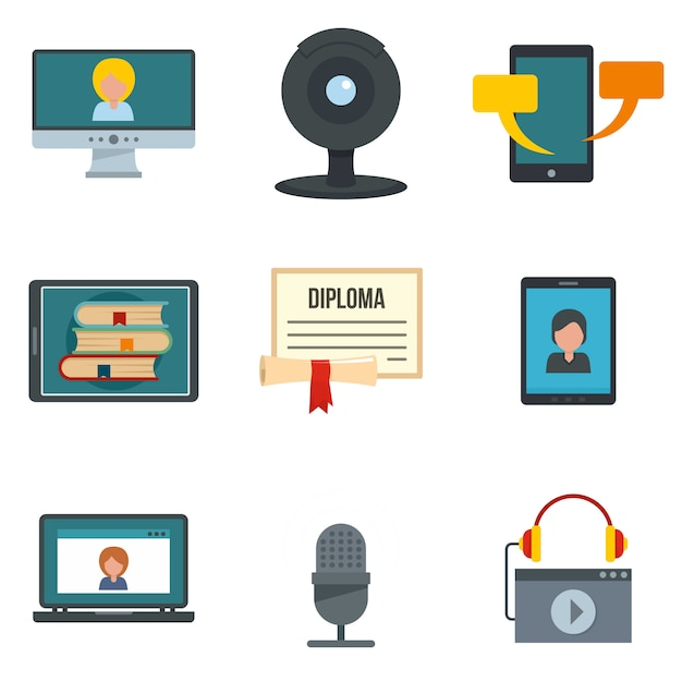 Webinar training online icons set Premium Vector