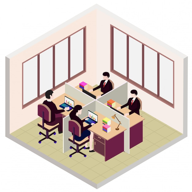 Webisometric office room icon, with employee Premium Vector