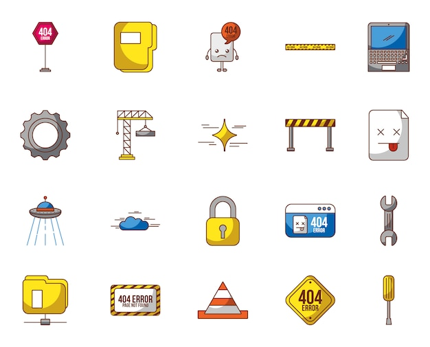 Webpage under construction set icons Free Vector