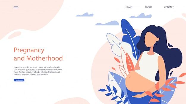 Webside banner pregnancy and motherhood cartoon Premium Vector