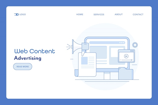 웹 사이트 광고 및 콘텐츠 배너 프리미엄 벡터