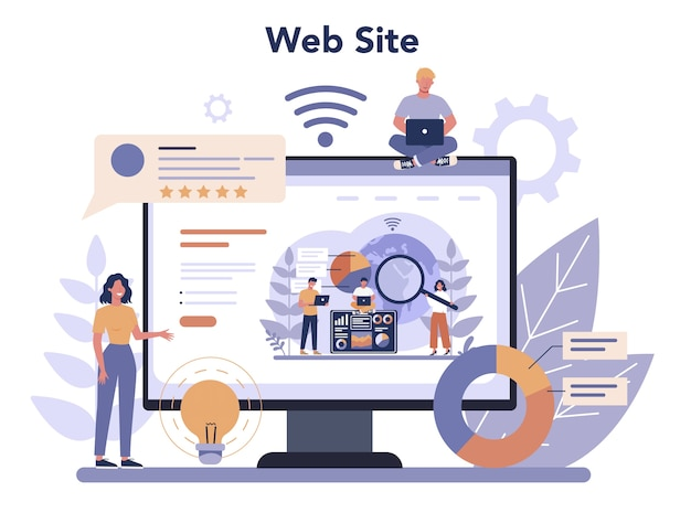 Website analysis online service or platform Premium Vector