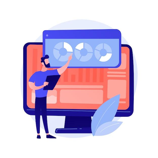 Анализ веб-сайта. seo отчеты аналитика. круговые диаграммы, диаграммы, экран монитора компьютера. иллюстрация концепции ежегодной презентации бизнес-и финансового аналитика Бесплатные векторы