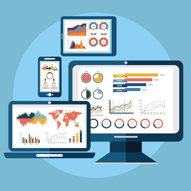 Website analytics search information and computing data analysis using  electronic  mobile devices Premium Vector