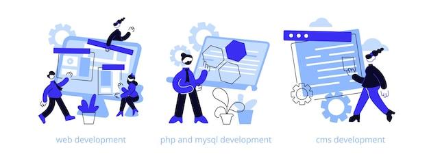 ウェブサイトアーキテクチャ抽象的な概念イラストセット。 Premiumベクター