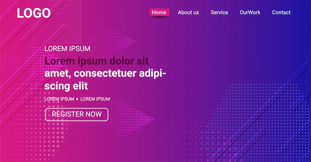 Website banner, abstract purple and blue color gradient background Premium Vector