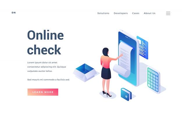 Website banner advertising online check opportunity Premium Vector