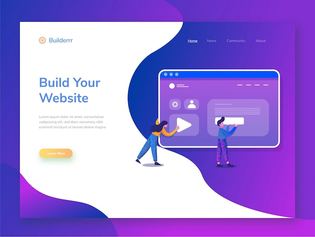Website builder illustration Premium Vector