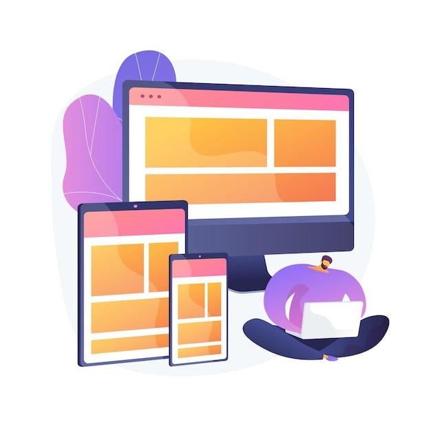 Создание сайта. веб-графика, дизайн интерфейса, отзывчивый сайт. программная инженерия и разработка. мужской программист мультипликационный персонаж. векторная иллюстрация изолированных концепции метафоры Бесплатные векторы
