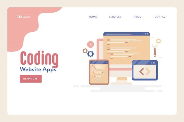 Website coding programming Premium Vector