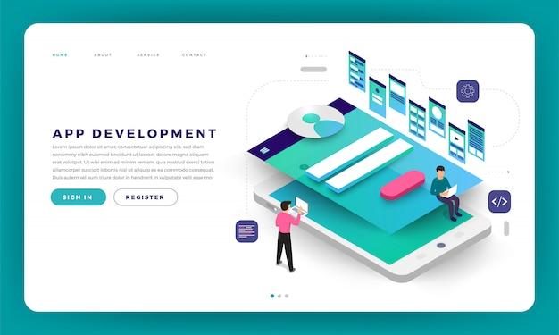 Website   concept app development. Premium Vector