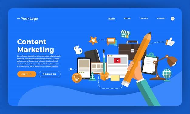 Website   concept digital marketing. content marketing.  illustration. Premium Vector