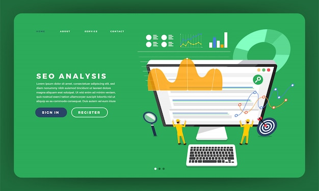 Website   concept seo analysis with graph and chart on team developer building a rank website on desktop.  illustration. Premium Vector