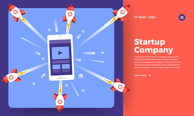 Website   concept stratup company mean rocket rise from computer.   illustration. Premium Vector