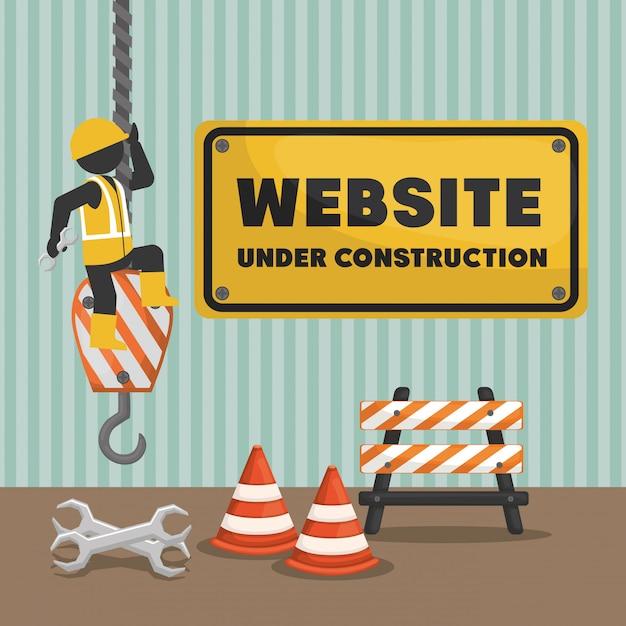 Website under construction banner Premium Vector
