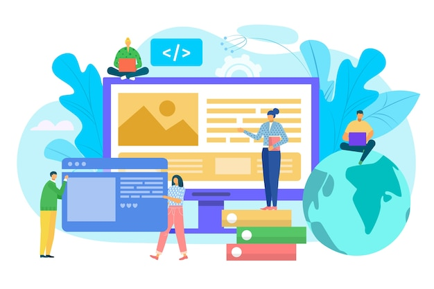 Website construction concept, ui interface prototyping, web development  illustration. people costructing web site interface on computer. ui ux, usability, mockup, wireframe development concept. Premium Vector