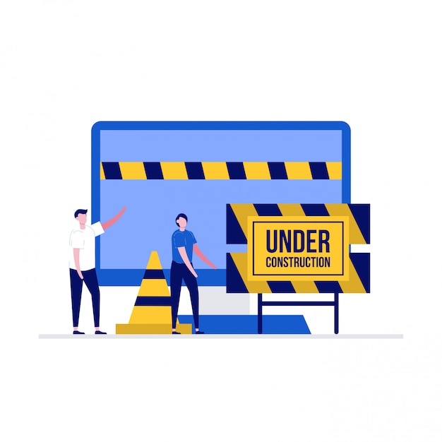 Website under construction  illustration concept with characters. a team fixing web system, updating the server by developers. Premium Vector