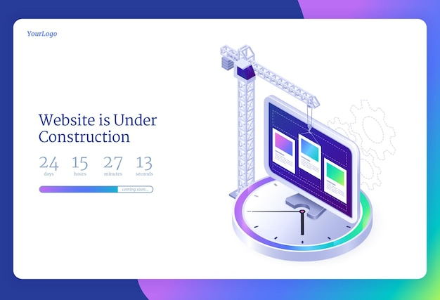 Website under construction isometric landing page internet software maintenance with countdown webpage update repair or development building crane and pc desktop on huge clock d  web banner Free Vector
