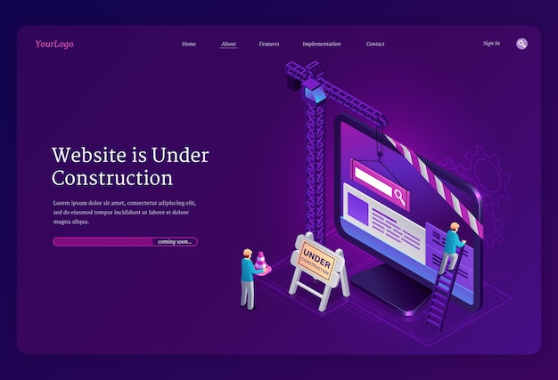 Website under construction isometric landing page Free Vector