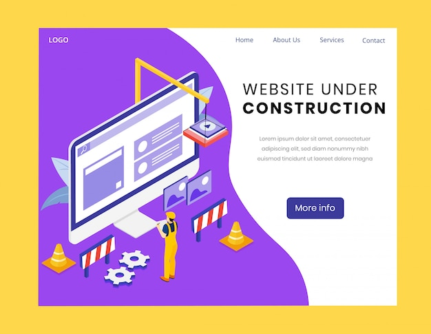 Website under construction isometric landing page Premium Vector