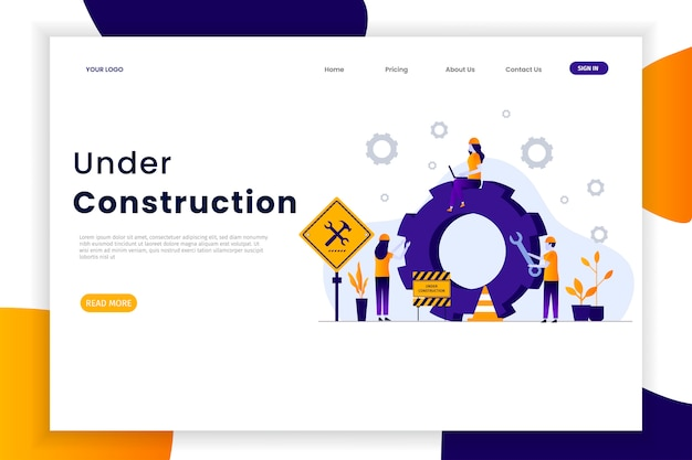 Website under construction landing page Premium Vector