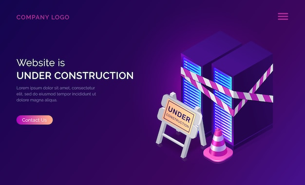 Website under construction, maintenance work error Free Vector