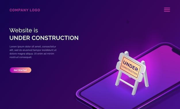 Website under construction, maintenance work error Free Vector