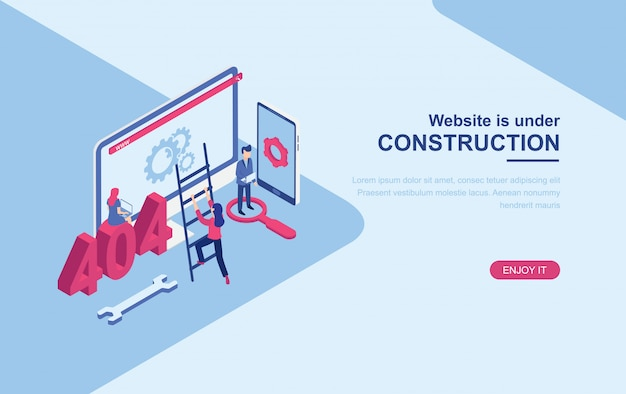 Website under construction page isometric landing page web template Premium Vector