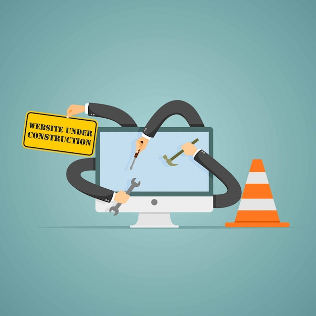 Website under construction page. Premium Vector