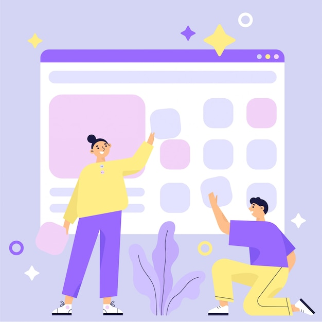 Website construction, web page building process. design for mobile and web graphics. teamwork. flat vector illustration. Premium Vector